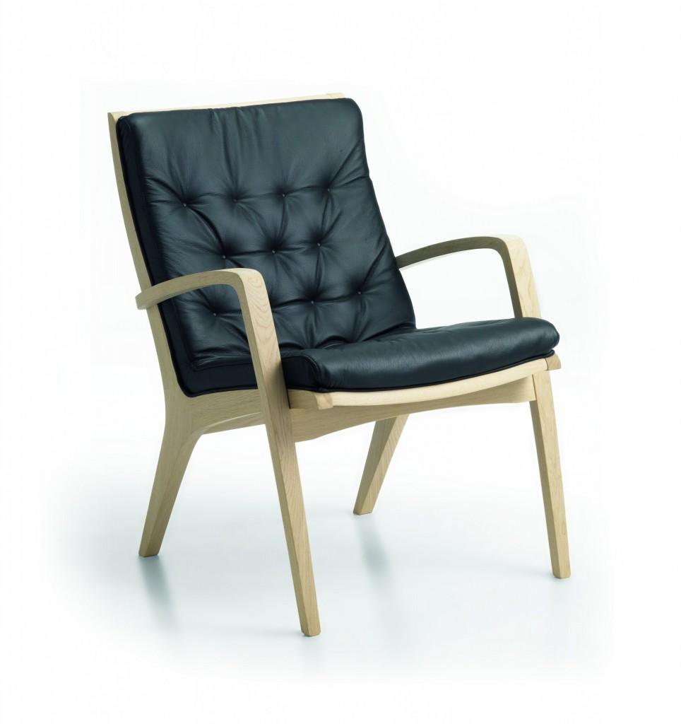 Billede af hvilestol med lav ryg SA-3 i sort læder