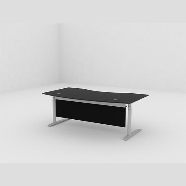 Hæve Sænkebord med frontpanel. Frontpanelet er udført i fleksibelt gummi-coated tekstil, som er delvis transparent.