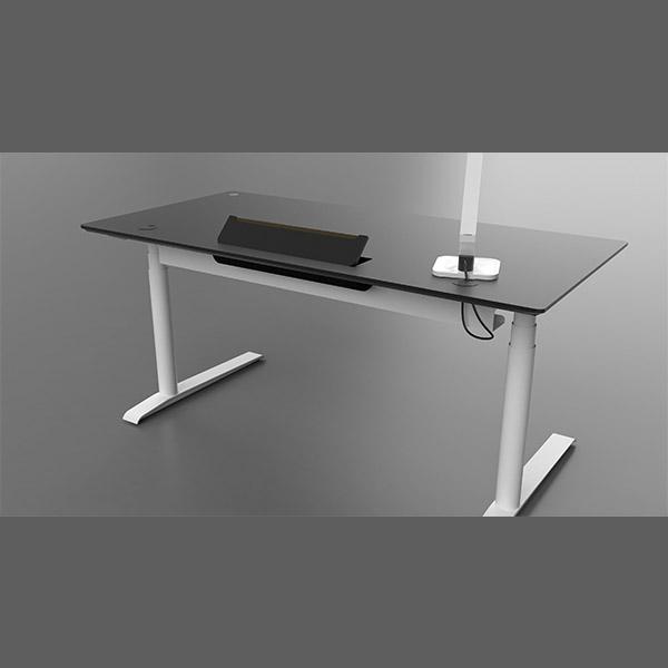 Billede af hvidt hæve Sænkebord med sort plade. Fås også med kabelgennemføring,