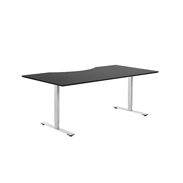 Billede af hæve sænke bord sort. Et af de mest solgte H/S-borde overhovedet. Et robust og stabilt PC-bord med Linak søjle og en praktisk bordplade med maveudskæring