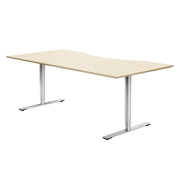 Hæve sænke bord blank søjle lang vandring, H/S-bord med centreret maveudskæring, som her er vist med bordplade i træ. Kan også leveres i linoleum, eller laminat. Rigtig mange størrelser også på mål.
