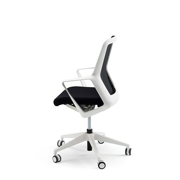 Mødestol på hjul Hvid