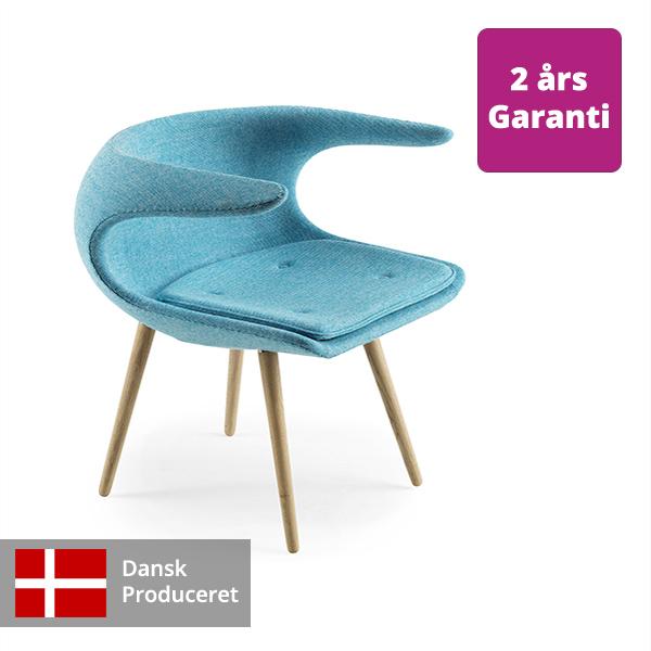 Billede af loungestol blå FROST med tekstil polstring