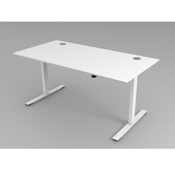 Hæve Sænkebord Hvidt med eller uden kabelgennemføring.