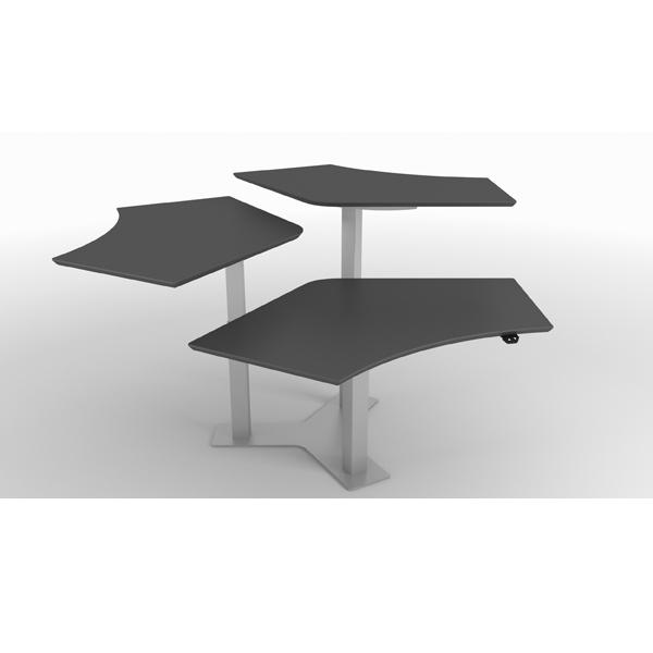 Billede af hæve sænkebord Callcenter, en skrivebords Ø til 3 personer.