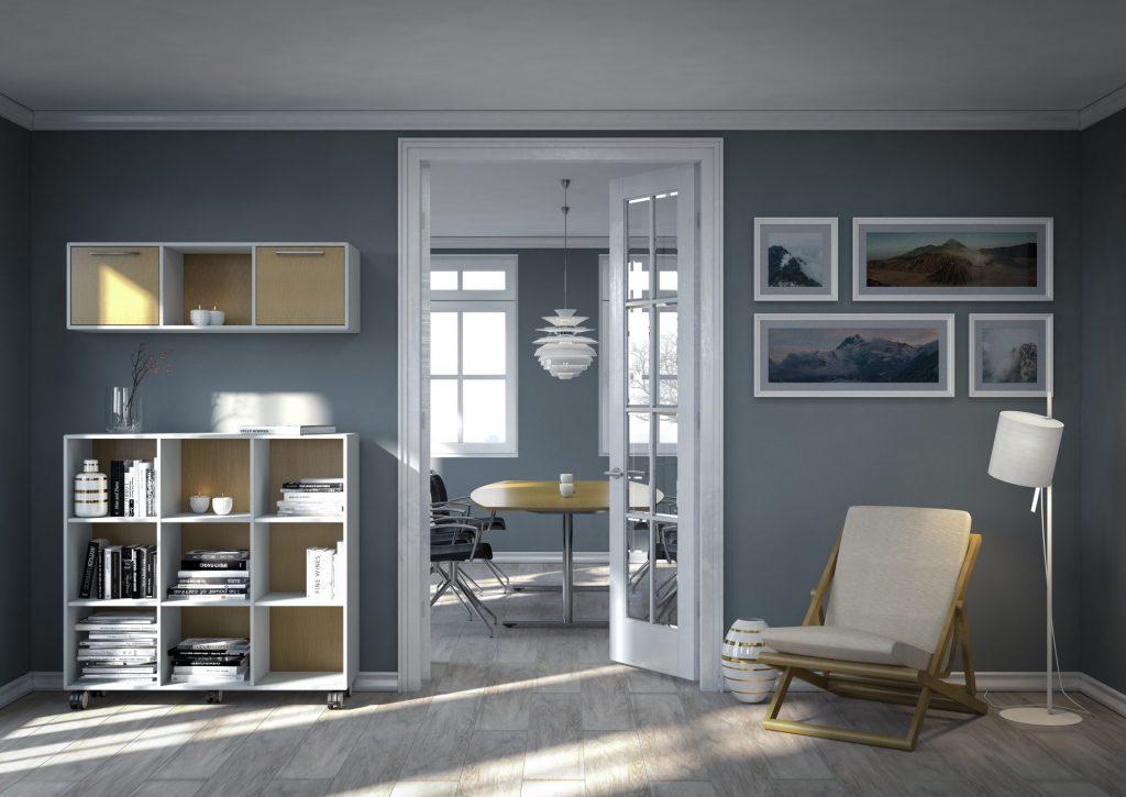 Billede af Klassisk kontorreol 1112 med flere rum. Kraftig kvalitet og enkelt design, med kun 16 mm. plade. Alle hjørner er samlet i 45 grader smig.