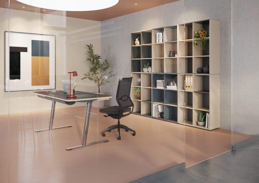 Billede af Moderne kontorreol til indretning af store eller små kontorer. Opstillingen består af flere separat moduler, som kan opstilles i mange kombinationer.