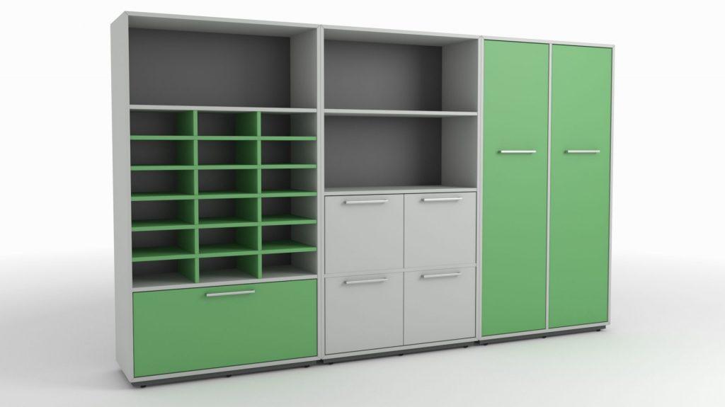 Billede af Reol Opstilling med dueslag eller postsortering. en opstilling der viser kombinationsmuligheder til postrummet på et kontor.