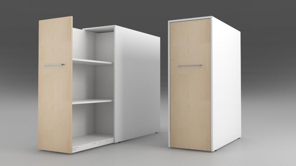 Billede af Sideudtræksskab med 3 rum i højden til ringbind. En flot måde at skabe orden på arbejdspladsen.