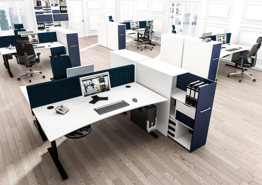 Billede af skabe til kontor, udtræksskabe. En god rumdeler til kontoret, som skaber ro og overskuelighed