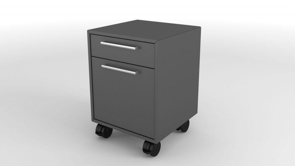 Billede af Skuffeboks hængemappeskuffe Skuffekassette 2 Skuffer, med eller uden lås. På hjul. Model med plads til hængemapper, kan placeres under et skrivebord.