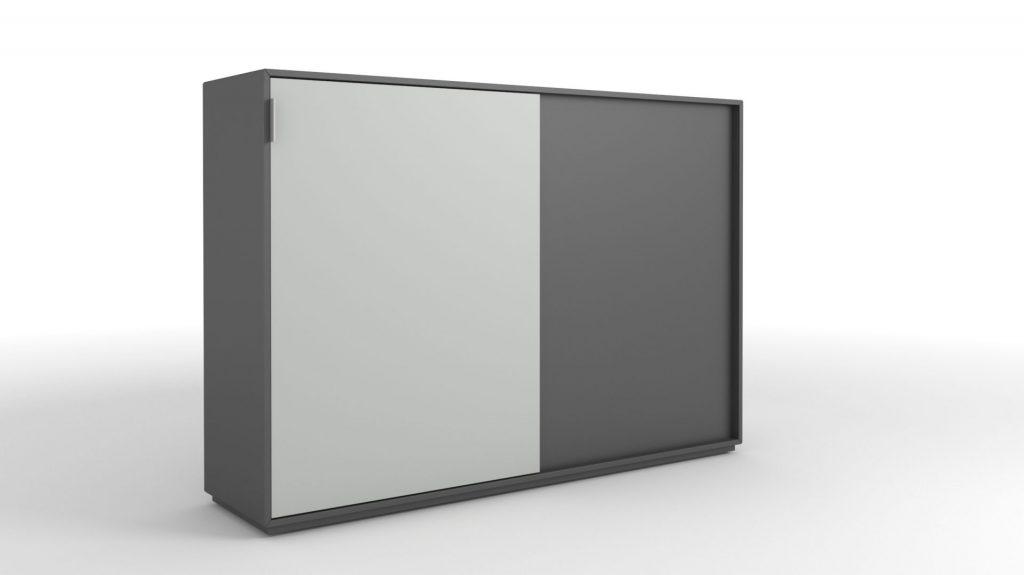 Billede af Skydelågeskab med 2 låger, bredde 120 cm. leveres i flere farver