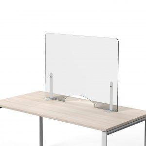 Billede af klar skærm til beskyttelse 100 x 100 til anbringelse direkte på bordet uden skruer.