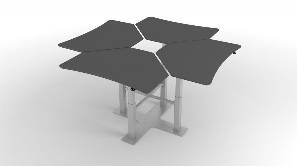 Billede af hæve sænkebord 4 søjler med 4 individuelle arbejdspladser