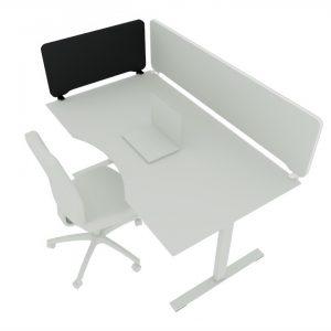 Billede af bordskærm Edge i sort, 80 x 40 cm, kantmonteret